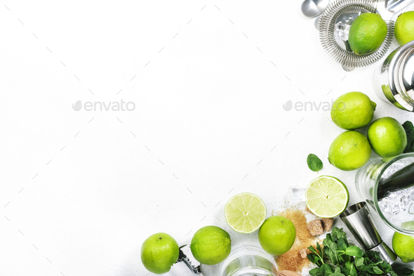 Mojito cocktail preparing ingredients - Stock Photo - Images