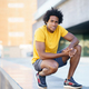 Black man with afro hair taking a break after workout - PhotoDune Item for Sale