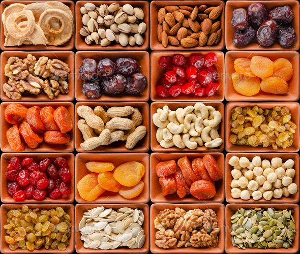 Seamless flat lay food background of dehydrated fruits - Stock Photo - Images