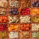 Seamless flat lay food background of dehydrated fruits - PhotoDune Item for Sale