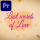 Last Words of Love - Beautiful Title Sequence | MOGRT - VideoHive Item for Sale