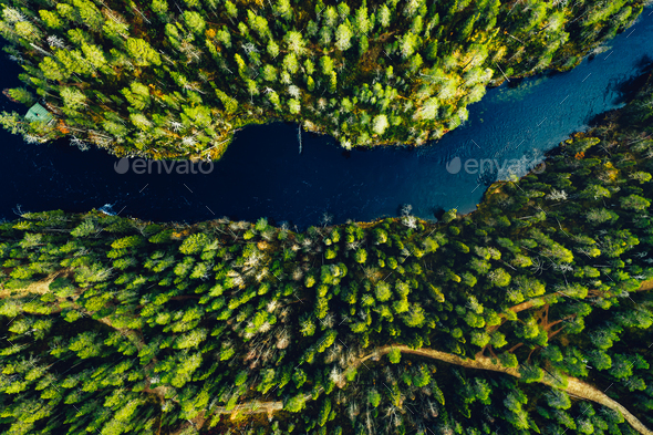 Aerial view of green forests and blue lakes and rivers in summer Finland - Stock Photo - Images