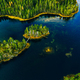 Aerial view of green forests and blue lakes and rivers in summer Finland - PhotoDune Item for Sale