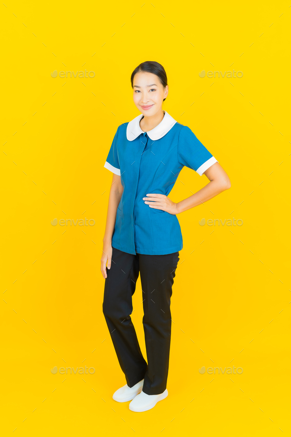 Portrait beautiful young asian woman maid and housekeeping - Stock Photo - Images
