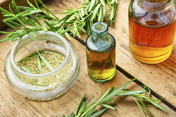 Rosemary extract in herbal medicine - Stock Photo - Images