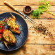 Baked quail and vegetable salad on a plate - PhotoDune Item for Sale