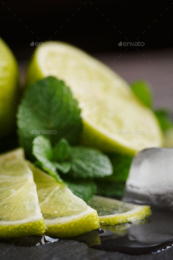 Fresh lime, mint and ice cubes. - Stock Photo - Images