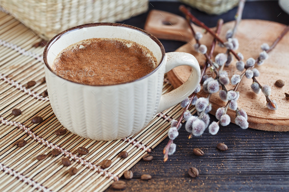 Cup of cappuccino with cinnamon - Stock Photo - Images