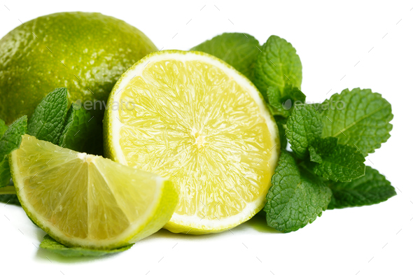 Fresh lime and mint. Isolated on white background - Stock Photo - Images