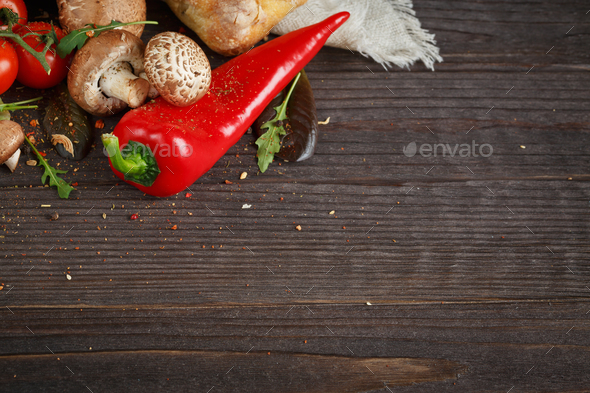 Sliced bread Ciabatta and vegetables - Stock Photo - Images
