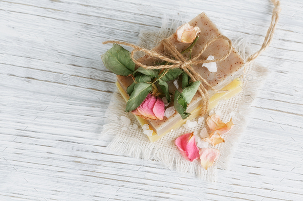 Natural handmade soap with fragrant herbs - Stock Photo - Images