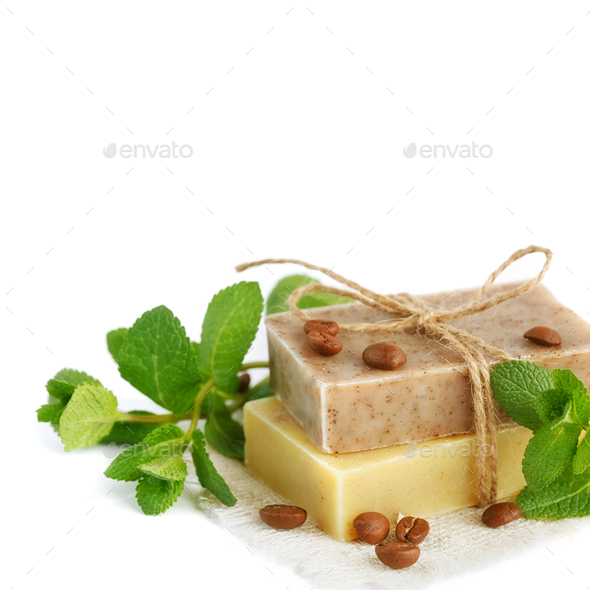 Natural handmade soap with fragrant herbs and coffee beans - Stock Photo - Images