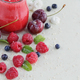Delicious raspberry and sweet cherry smoothie or milk shake with fresh berries - PhotoDune Item for Sale