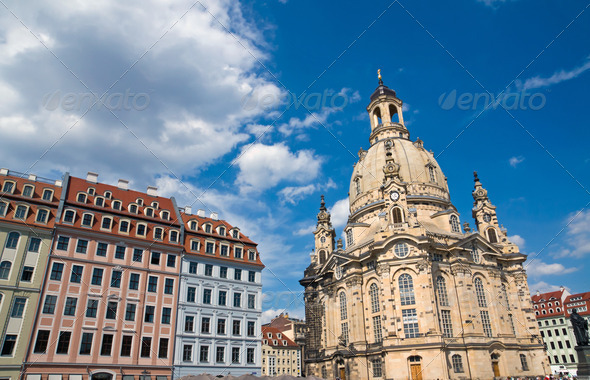 Old beautiful houses around the Frauenkirche - Stock Photo - Images