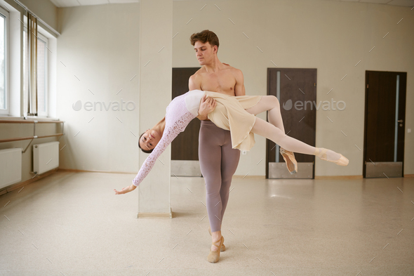 Couple of ballet dancers, dancing in action - Stock Photo - Images