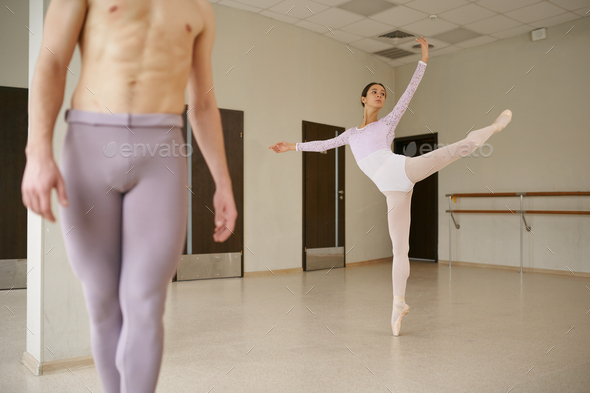 Couple of ballet dancers, dancing repetition - Stock Photo - Images