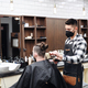 Man client visiting haidresser in barber shop, coronavirus and new normal concept - PhotoDune Item for Sale