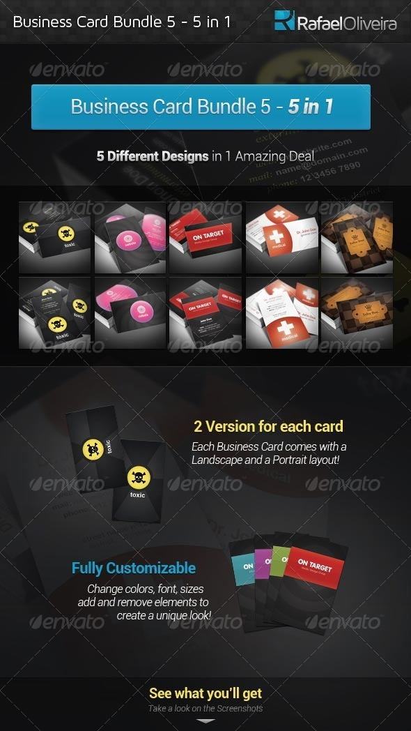 Business Card Bundle 5 - 5 in 1 - Creative Business Cards