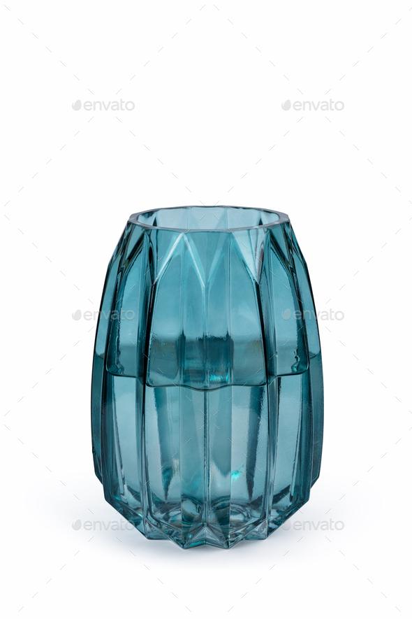 light blue glass vase isolated - Stock Photo - Images