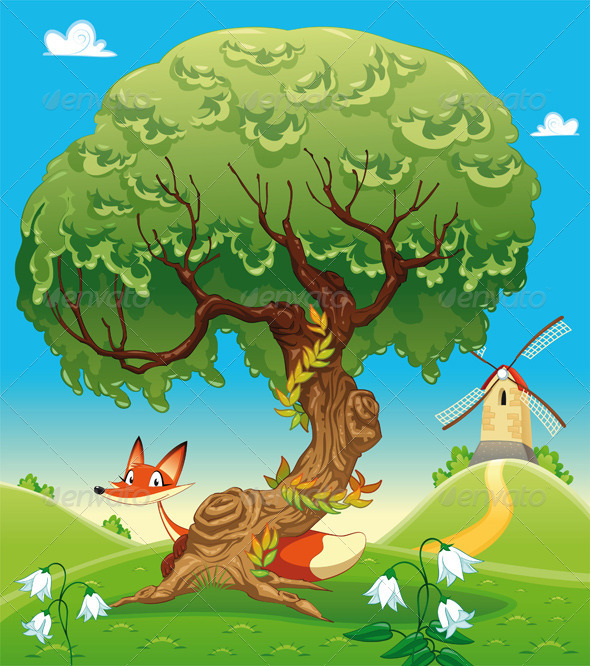 Landscape with fox behind the tree. - Animals Characters
