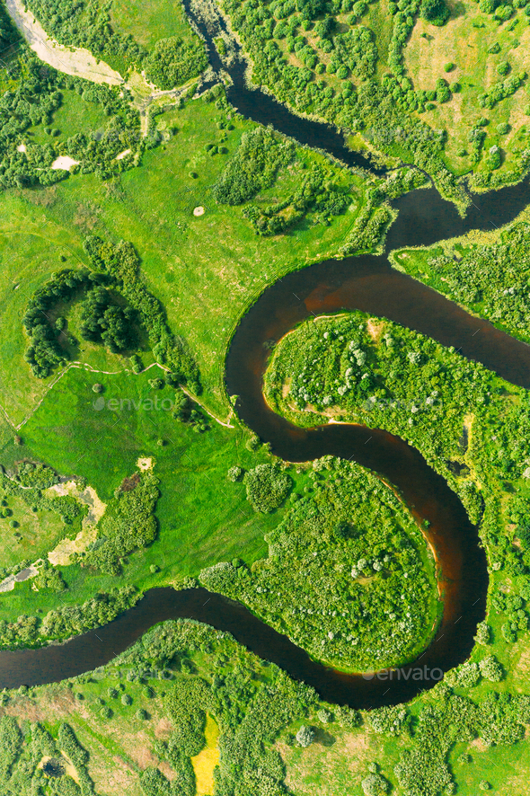 Aerial View Of Summer Curved River Landscape In Sunny Summer Day. Top View Of Beautiful European - Stock Photo - Images