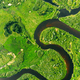 Aerial View Of Summer Curved River Landscape In Sunny Summer Day. Top View Of Beautiful European - PhotoDune Item for Sale