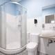 Bathroom with shower cabin, sink and basin. Modern apartment - PhotoDune Item for Sale