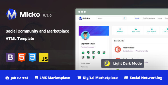 Micko – Social Community and Marketplace HTML Template