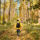 Young Woman Tourist Lady Dressed In Yellow Jacket Of Autumn Forest. Hiker Walking In Fall Mixed - PhotoDune Item for Sale