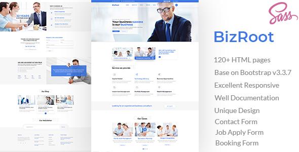 Extraordinary BizRoot - Business and Finance HTML Template