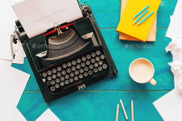 Top view of writer's block concept with vintage classic typewriter on author's desk - Stock Photo - Images