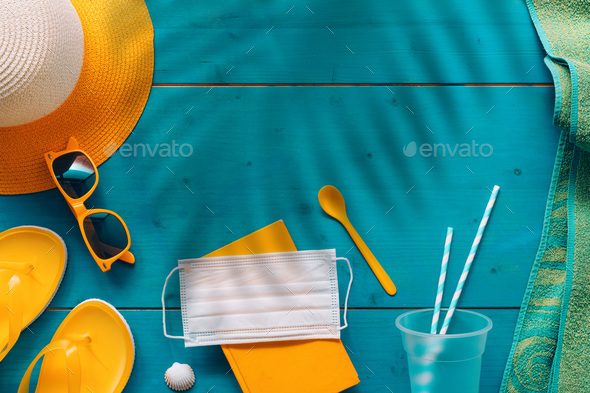 Covid-19 pandemics summertime seaside holiday concept - Stock Photo - Images