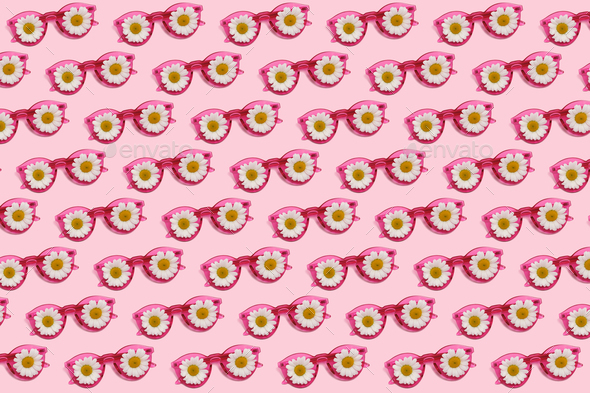 Pink glasses with daisies - Stock Photo - Images