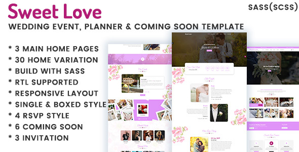 Incredible Lavender - Wedding Event, Planner & Coming Soon HTML Template