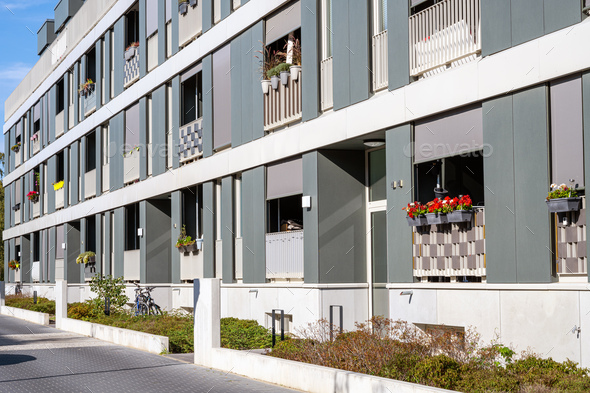 Modern row apartment houses - Stock Photo - Images