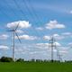 Overhead power line and wind turbines - PhotoDune Item for Sale