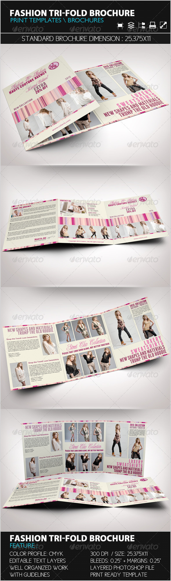 Fashion Tri-Fold Brochure Template - Catalogs Brochures
