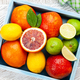 Various fresh citrus fruits in wooden box - PhotoDune Item for Sale