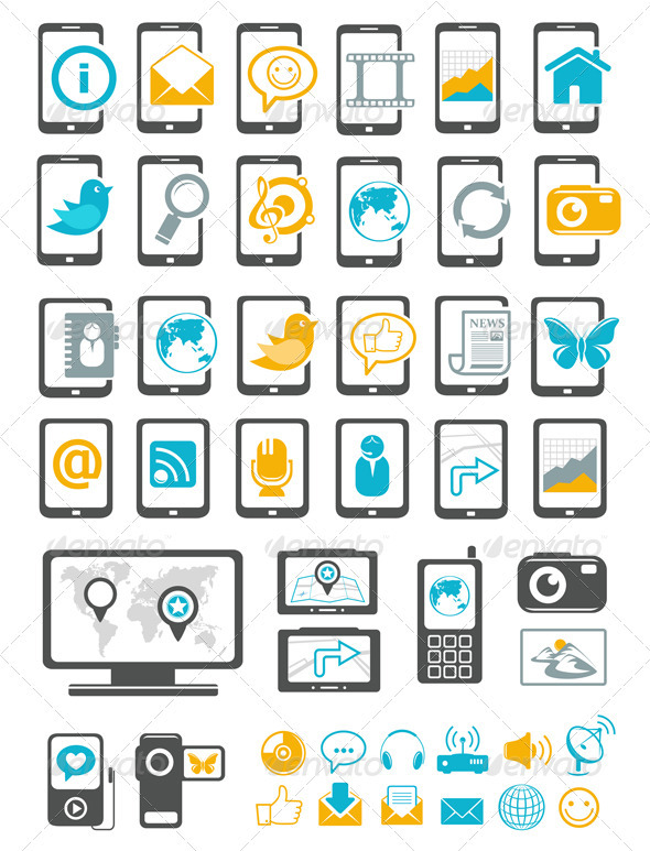 Modern Gadget And Mobile Device Icons - Technology Conceptual