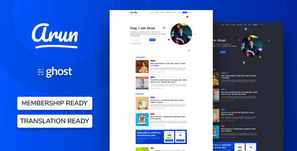 Arun - Personal Blog And Newsletter Ghost Theme