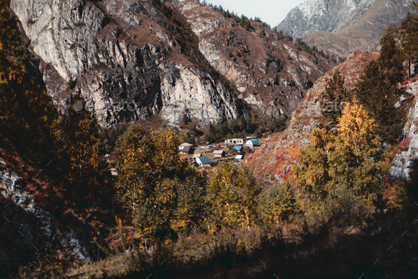 A small village in Altai mountains - Stock Photo - Images