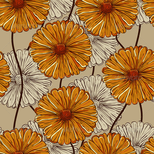 Vector Seamless Pattern with Abstract Flowers - Patterns Decorative