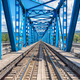 Blue river railway bridge view - PhotoDune Item for Sale