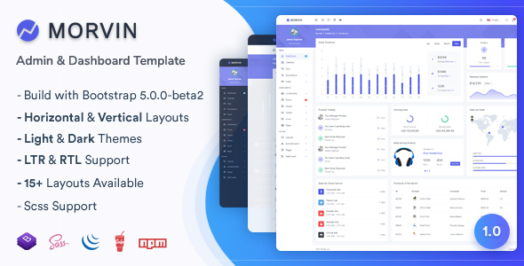 Morvin – Admin & Dashboard Template