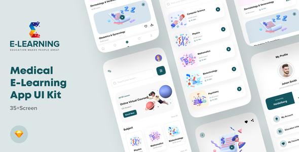 Medical e-Learning Online Course App UI kit For Sketch