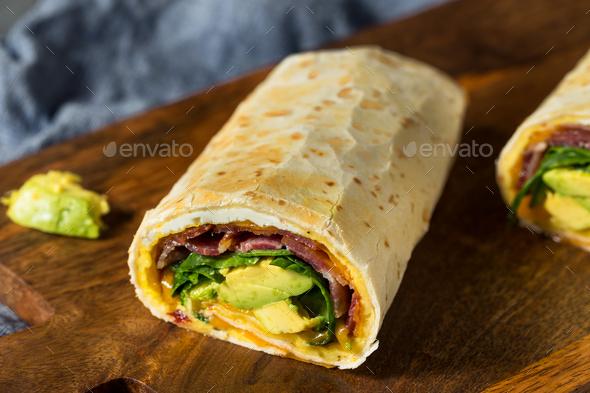 Homemade Healthy Trendy Breakfast Egg Burrito - Stock Photo - Images