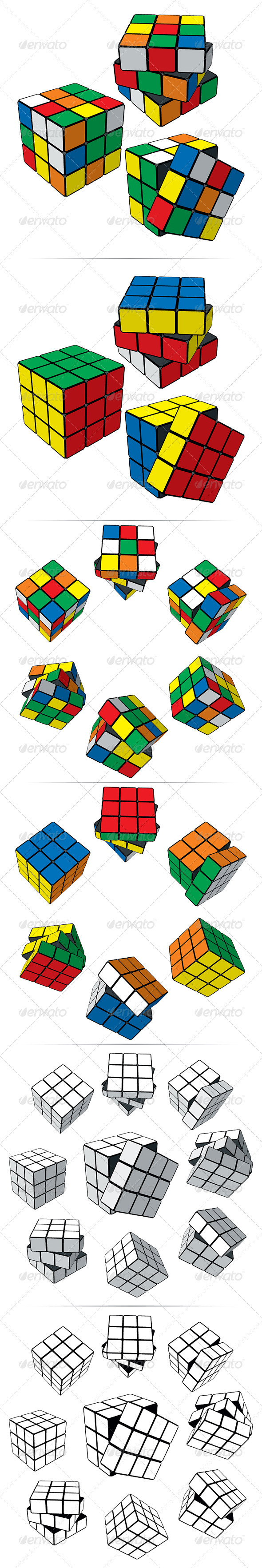Set of Puzzle Cubes - Miscellaneous Vectors
