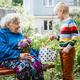 90 year old great-grandmother, grandmother with grandson together. Grandson hugs his beloved - PhotoDune Item for Sale