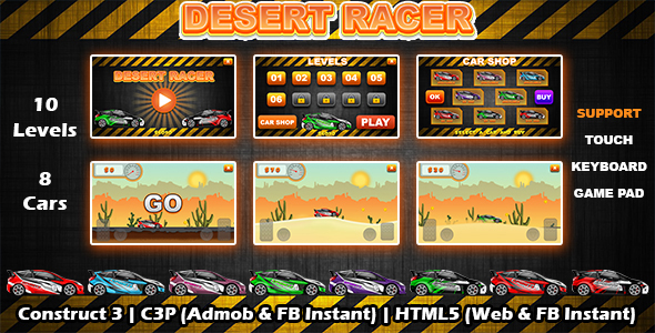Desert Racer Car Racing Game (Construct 3   C3P   HTML5) Admob and FB Instant Ready
