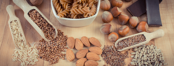 Natural ingredients containing magnesium, other minerals and dietary fiber. Healthy nutrition - Stock Photo - Images